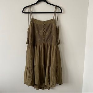TopShop-Tassel Tie Floral Open Knit Olive Dress